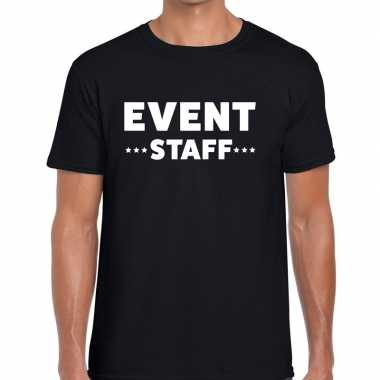 Event staff / personeel tekst t shirt zwart heren