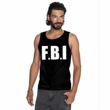 Fbi tekst singlet shirt/ tanktop zwart heren