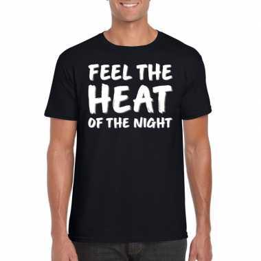 Feel the heat tekst t shirt zwart heren