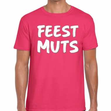 Feestmuts tekst t shirt roze heren