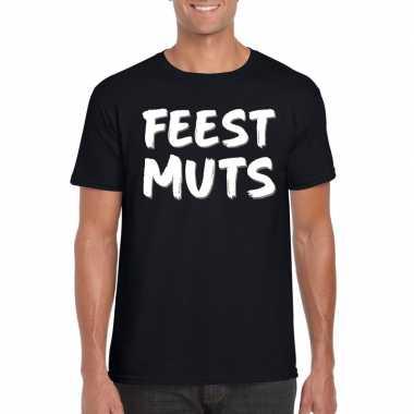 Feestmuts tekst t shirt zwart heren