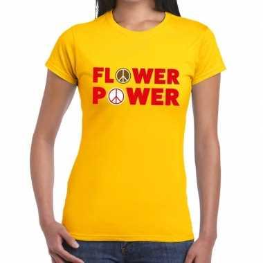 Flower power tekst t shirt geel dames