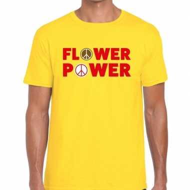 Flower power tekst t shirt geel heren
