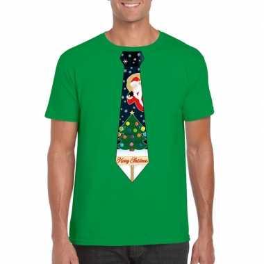 Fout kerst t shirt groen kerstboom stropdas heren