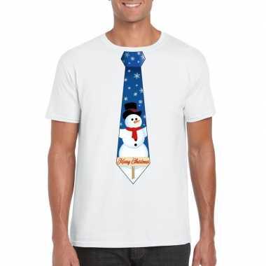 Fout kerst t shirt wit sneeuwpop stropdas heren