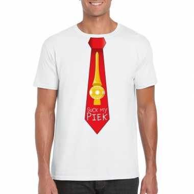 Fout kerst t shirt wit suck my piek rode stropdas heren