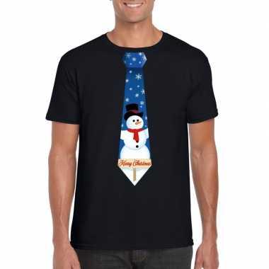 Fout kerst t shirt zwart sneeuwpop stropdas heren