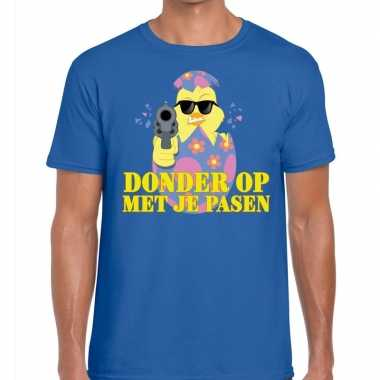 Fout paas t shirt blauw donder je pasen heren