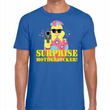 Fout paas t shirt blauw surprise motherfucker heren