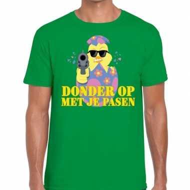 Fout paas t shirt groen donder je pasen heren