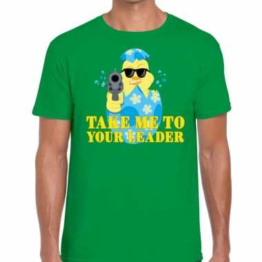 Fout paas t shirt groen take me to your leader heren