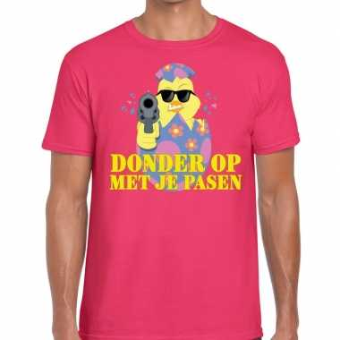 Fout paas t shirt roze donder je pasen heren