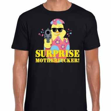 Fout paas t shirt zwart surprise motherfucker heren