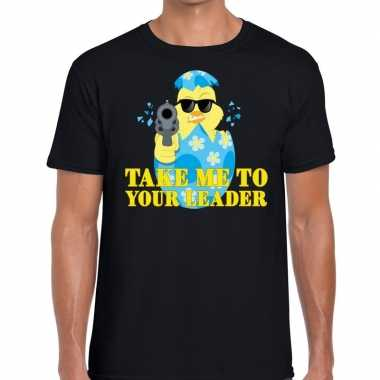 Fout paas t shirt zwart take me to your leader heren