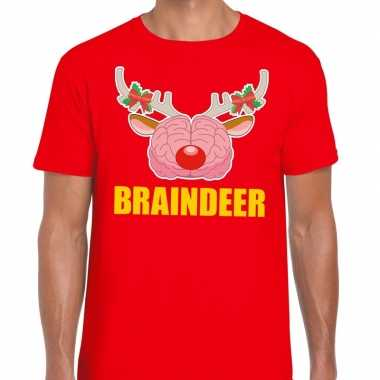 Foute kerst t shirt braindeer rood heren