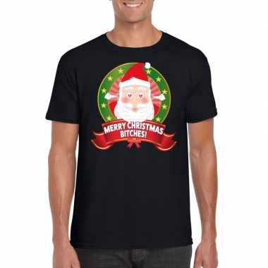 Foute kerst t shirt merry christmas bitches heren
