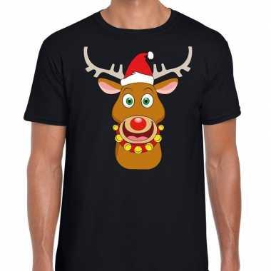 Foute kerst t shirt rendier rudolf rode kerstmuts zwart heren