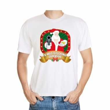 Foute kerst t shirt wit x mas is fucking expensive heren