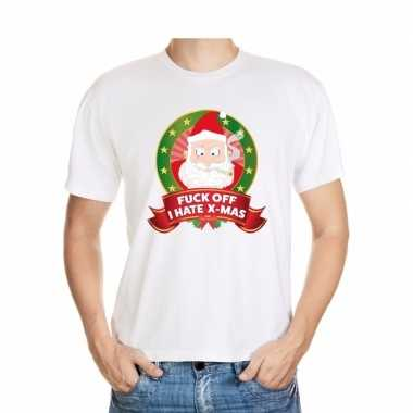 Foute kerst t shirt wit fuck off i hate x mas heren