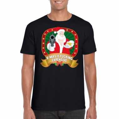 Foute kerst t shirt zwart x mas is fucking expensive heren