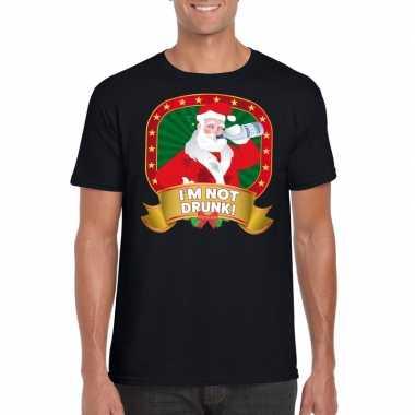 Foute kerst t shirt zwart im not drunk heren