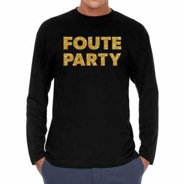 Foute party goud glitter long sleeve t shirt zwart heren
