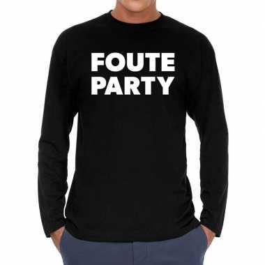 Foute party long sleeve t shirt zwart heren
