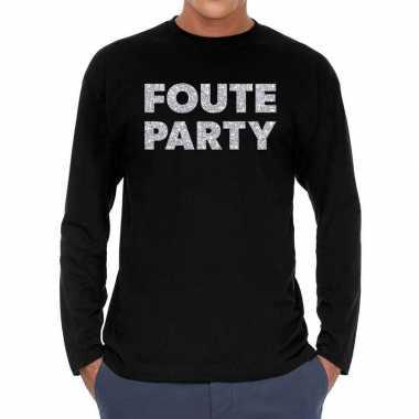 Foute party zilver glitter long sleeve t shirt zwart heren