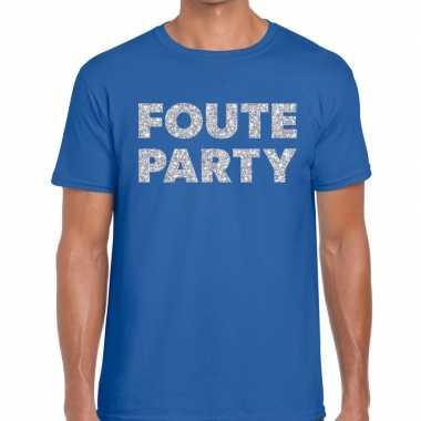Foute party zilveren glitter tekst t shirt blauw heren