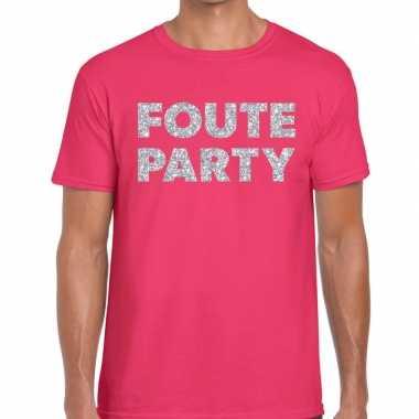Foute party zilveren glitter tekst t shirt roze heren