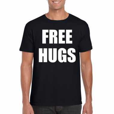 Free hugs tekst t shirt zwart heren
