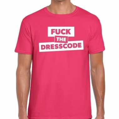 Fuck the dresscode tekst t shirt roze heren