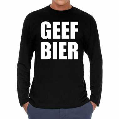 Geef bier long sleeve t shirt zwart heren