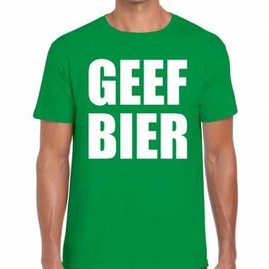 Geef bier tekst t shirt groen heren