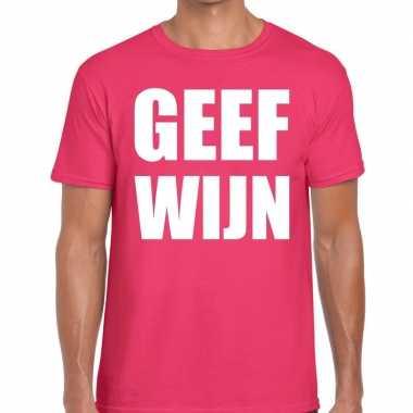 Geef wijn t shirt roze heren