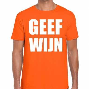 Geef wijn tekst t shirt oranje heren