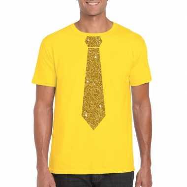 Geel fun t shirt stropdas glitter goud heren