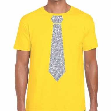 Geel fun t shirt stropdas glitter zilver heren