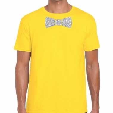 Geel fun t shirt vlinderdas glitter zilver heren