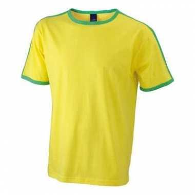 Geel groen heren t shirt