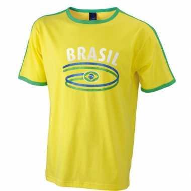 Geel heren t shirt brazilie
