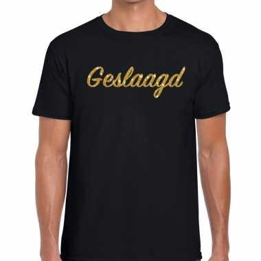 Geslaagd goud glitter tekst t shirt zwart heren
