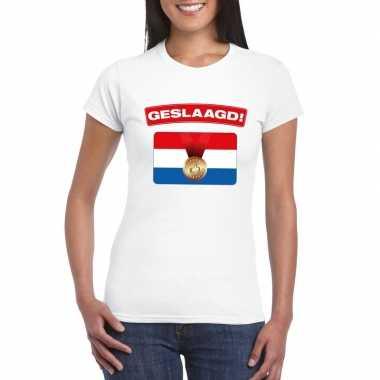 Geslaagd vlag t shirt wit dames