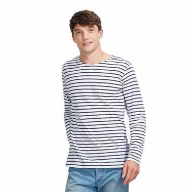 Gestreept heren t shirt wit/blauw