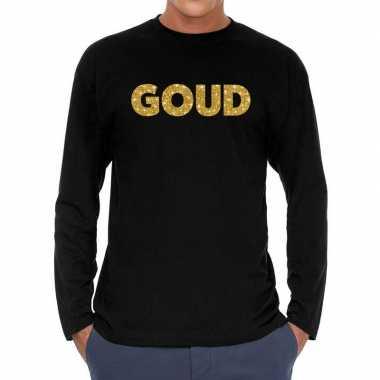 Goud glitter long sleeve t shirt zwart heren