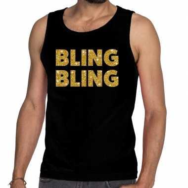 Gouden bling bling glitter tanktop / mouwloos shirt zwart heren