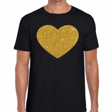 Gouden hart glitter fun t shirt zwart heren