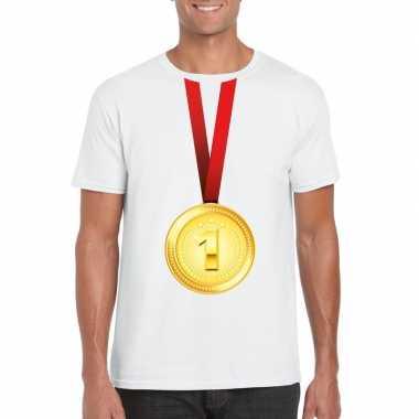 Gouden medaille kampioen shirt wit heren