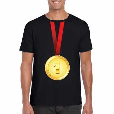 Gouden medaille kampioen shirt zwart heren