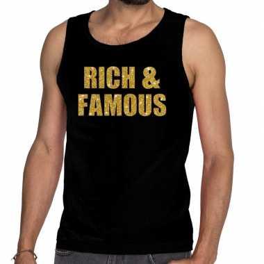 Gouden rich & famous glitter tanktop / mouwloos shirt zwart here